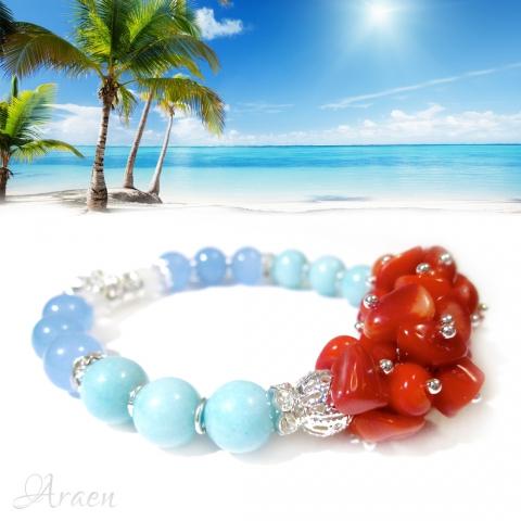 Moorea - Trópusi Szellő ásványkarkötő - Moorea - Tropical Breeze gemstone stretch bracelet