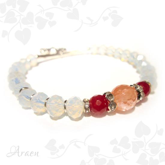 rubin turmalin opalit karkötő ruby watermelone tourmaline bracelet