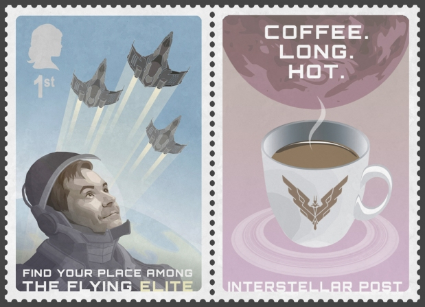 Philately is probably meaningless in the 34th century, but I couldn't resist to design a stamp featuring the almighty David Braben